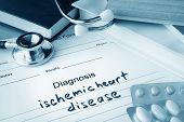 Постер, плакат: Diagnostic form with diagnosis ischemic heart disease