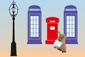 picture of mailbox  - telephone booth composition of and mailbox and a dog that  - JPG