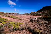 image of dam  - Artificial Lake Water Dam in the Canary Islands Gran Canaria - JPG