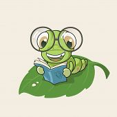 foto of bookworm  - Cartoon bookworm on leaf isolated on brown background - JPG
