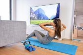 stock photo of yoga mat  - Home workout  - JPG