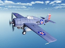 picture of fighter plane  - Computer generated 3D illustration with an American fighter plane of World War II - JPG