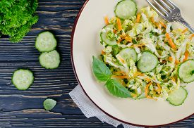 pic of cucumbers  - Cabbage salad with cucumber and carrots - JPG