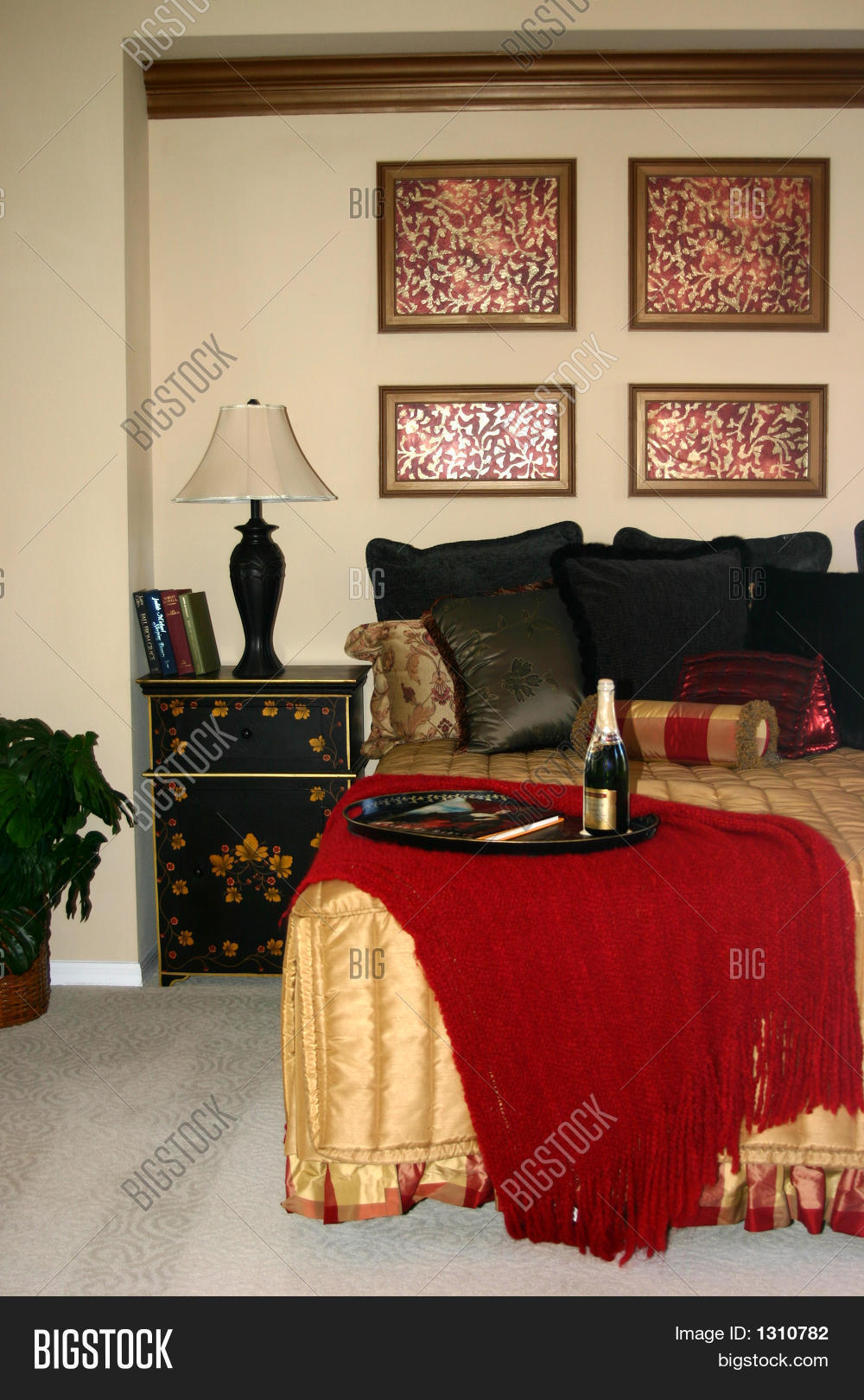 Red And Gold Bedroom With Champagne Stock Photo Stock Images Bigstock