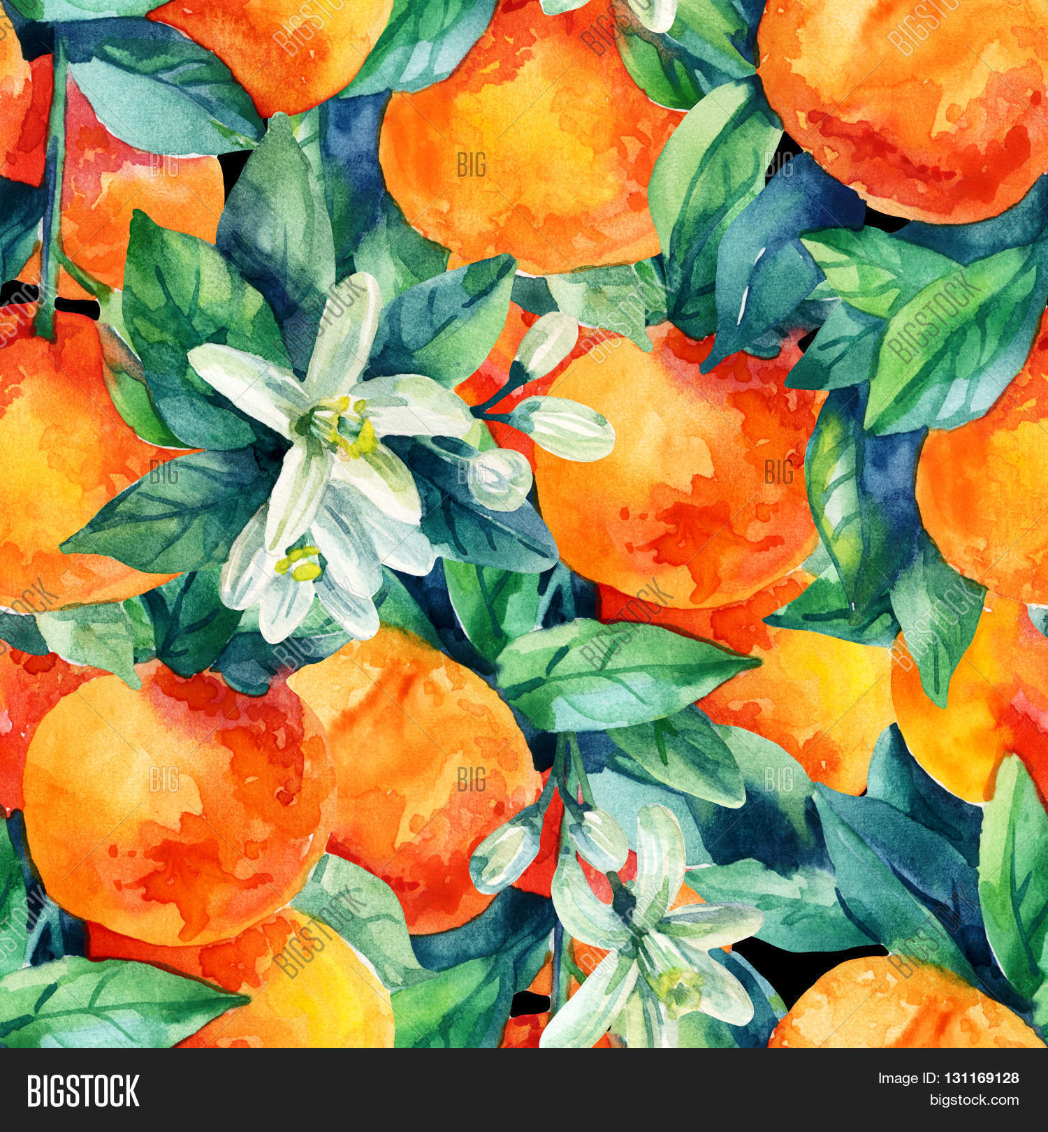 Watercolor mandarine orange fruit with leaves and blossom ...