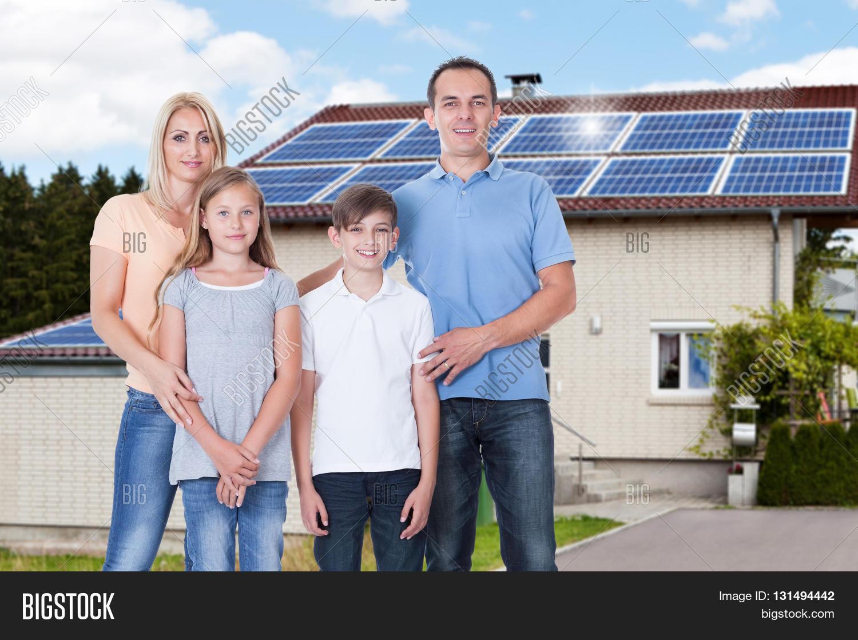 Portrait happy family standing image photo bigstock - Houses attic families children ...