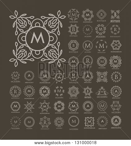 Set of luxury, simple and elegant  monogram design templates. Good for labels and logos. Vector illustration. Line style. Big set of monograms. Isolated on white.
