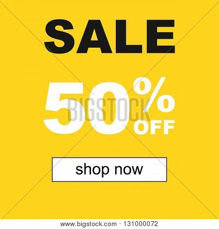 Sale and special offer. 50% off. Vector illustration.