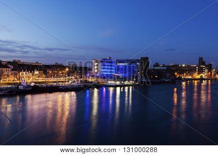 Maastricht panorama along Meuse River. Maastricht Limburg Netherlands.
