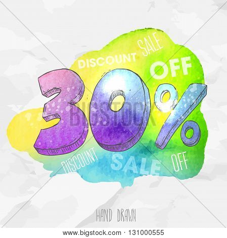 Vector watercolor background with hand drawn sketch style lettering 30 (thirty) percent. Doodle discount illustration