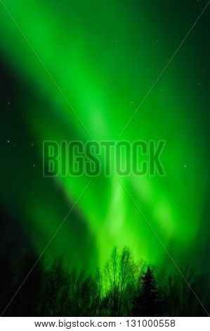 Swirling bands of aurora light draw the letter H in the sky