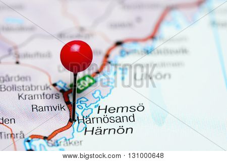 Harnosand pinned on a map of Sweden