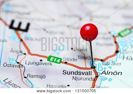 Sundsvall pinned on a map of Sweden