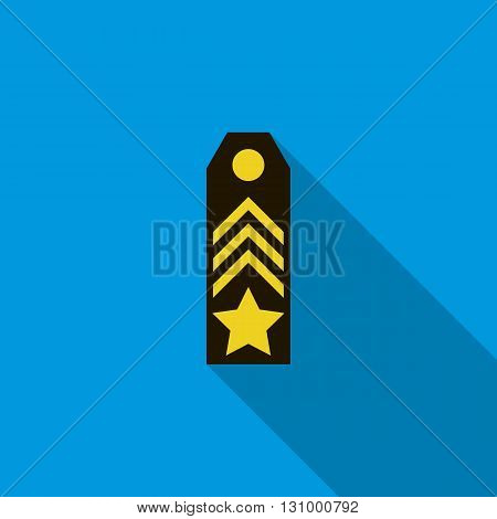 Shoulder strap icon in flat style on a blue background