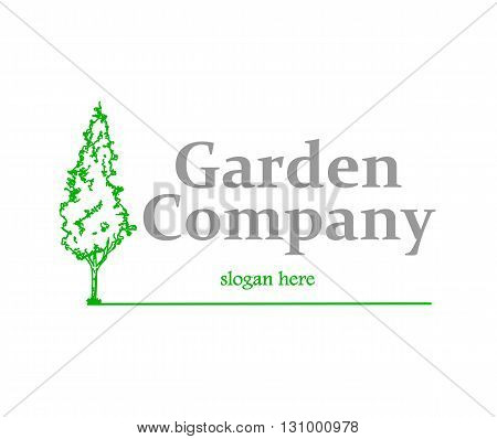 Garden company logo with tree - vector illustration.