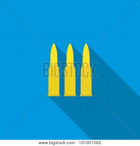 Three bullets icon in flat style on a blue background