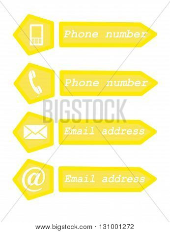 Web contact white icons - vector illustration.