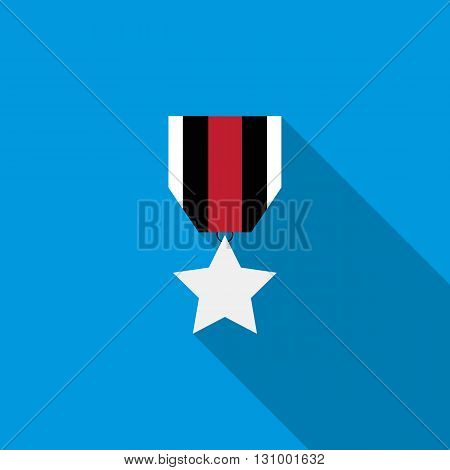 Order with star icon in flat style on a blue background