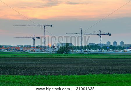 TYCHY POLAND - MAY 19 2016: Construction of a new shopping center
