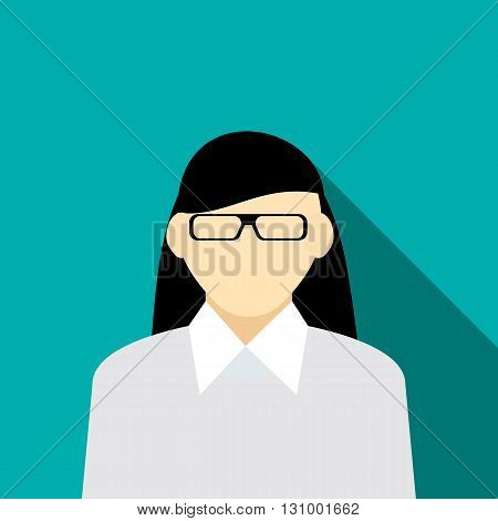 Woman with long hair in grey pullover icon in flat style on a turquoise background