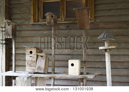 Collection of old birdhouses in the historical part of the Moscow Park Kolomenskoe. Russia.