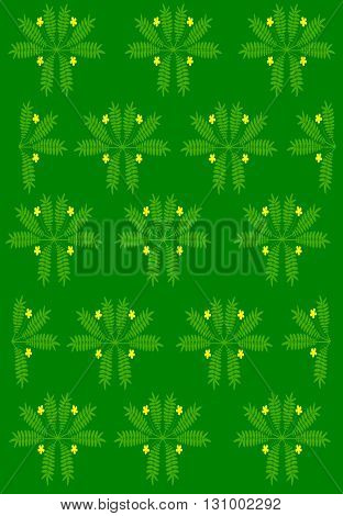 Green floral background with floral pattern - vector illustration.