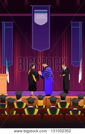 A vector illustration of graduation girl shaking hand with dean at podium