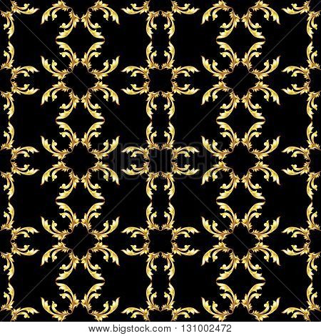 Square seamless golden floral pattern on black background
