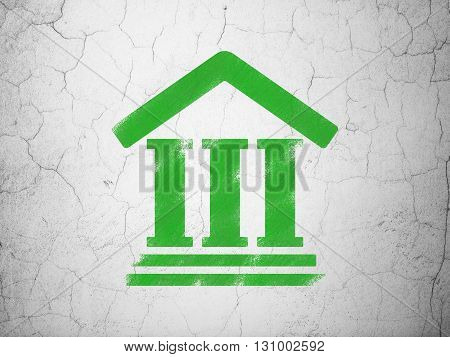 Law concept: Green Courthouse on textured concrete wall background