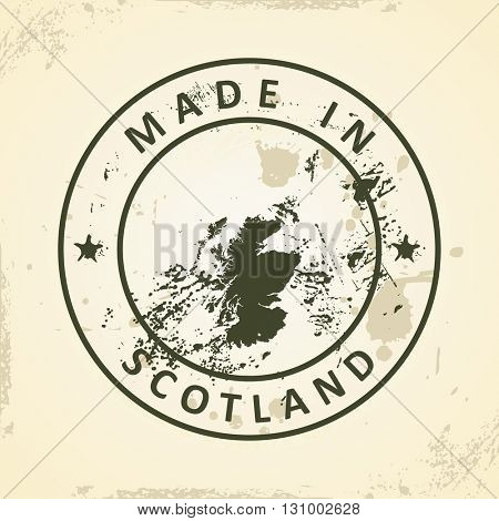 Grunge stamp with map of Scotland - vector illustration