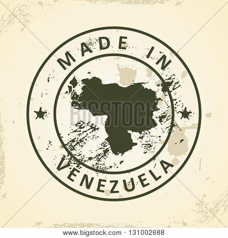 Grunge stamp with map of Venezuela - vector illustration