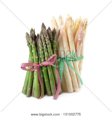 Bundle of green and white asparagus. Rustic decorated.