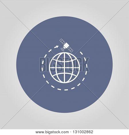 Illustration of globe symbol and satellites. EPS