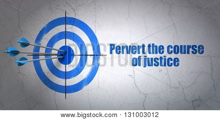 Success law concept: arrows hitting the center of target, Blue Pervert the course Of Justice on wall background, 3D rendering