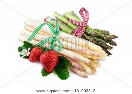 Asparagus isolated on white backgrpund. Rustic decorated.