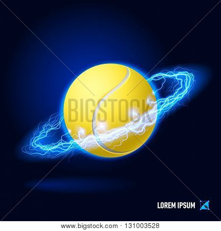 Realistic tennis ball in blue flashes and lighting circle