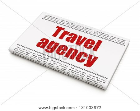 Travel concept: newspaper headline Travel Agency on White background, 3D rendering