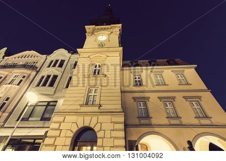 Old Rathaus in Ostrava at night. Ostrava Moravian-Silesian Region Czech Republic.
