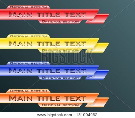 Set banners lower third blue, red, yellow and orange. Vector illustration.