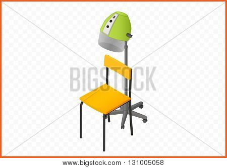 Hood hair dryer isometric perspective view flat vector 3d illustration