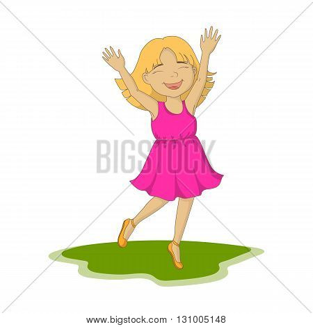 Cute girl jumping ilustration happy children smiling