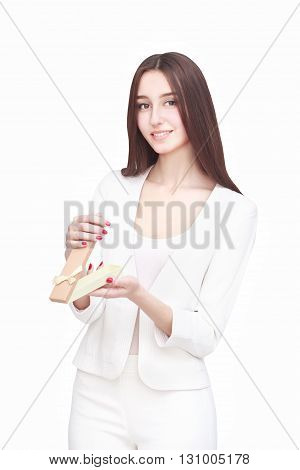 Young woman portrait open gift on isolated background