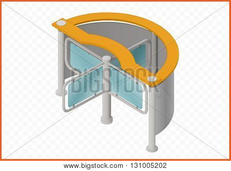 turnstile isometric perspective view flat vector 3d illustration