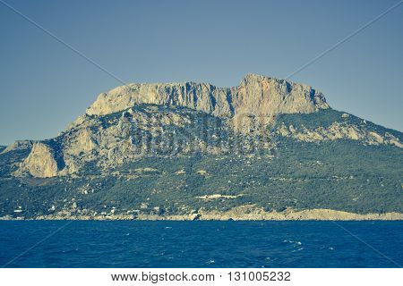 beautiful landscape and the large broad rock mountain Crimea Southern Coast