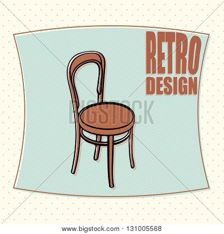 Wooden chair - retro design, cartoon style. Vector
