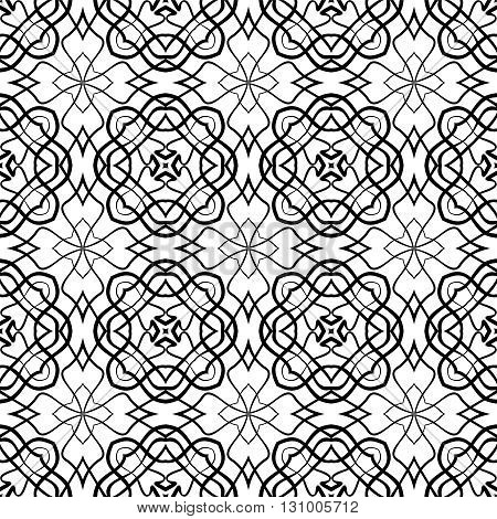 Seamless abstract monochrome pattern of lines on a white background.