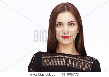 close-up portrait of Happy Young Woman Isolated On White Background