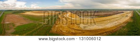 Large sand quarry. Sand pit panorama aerial shot