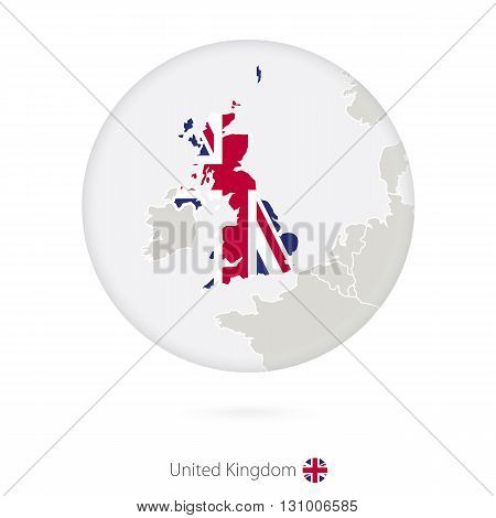 Map Of United Kingdom And National Flag In A Circle.