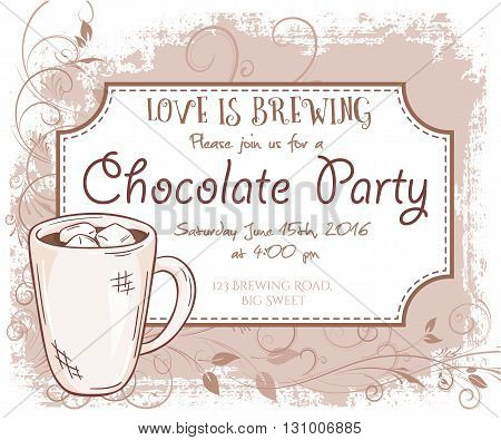 vector hand drawn chocolate party invitation card, vintage frame, glass and leaves.